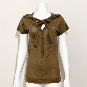 Marc Jacobs Bow Tie Short Sleeve Button Down Top